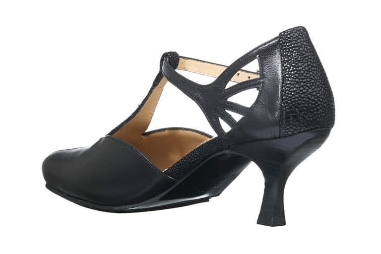Espinho Pumps i sort med reptilprint detaljer fra Barbro Shoes bagside