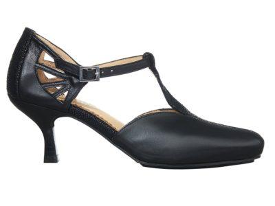 Espinho Pumps i sort med reptilprint detaljer fra Barbro Shoes