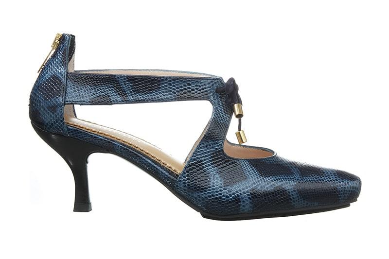 Atlantis Pumps i sort med blå reptil print fra Barbro Shoes
