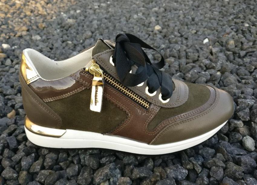 Sneakers DLSport Olivengrøn med gulddetaljer